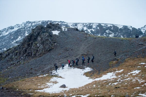 Spartan Race Across the Iceland Landscape in Winter